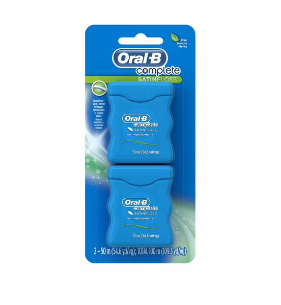 Oral-B Satin Floss Dental Floss Mint 110 Yards, Twin Pack