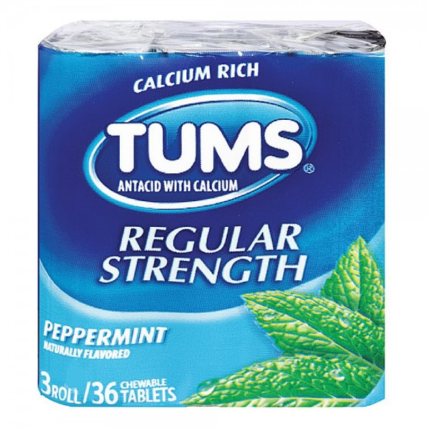 TUMS Regular Strength Antacid Chewable Tablets, Peppermint 3