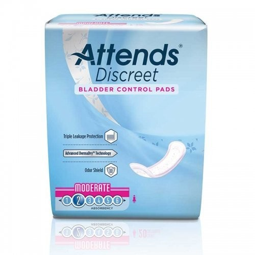 Attends Discreet Bladder Control Pads, Moderate Absorbency L
