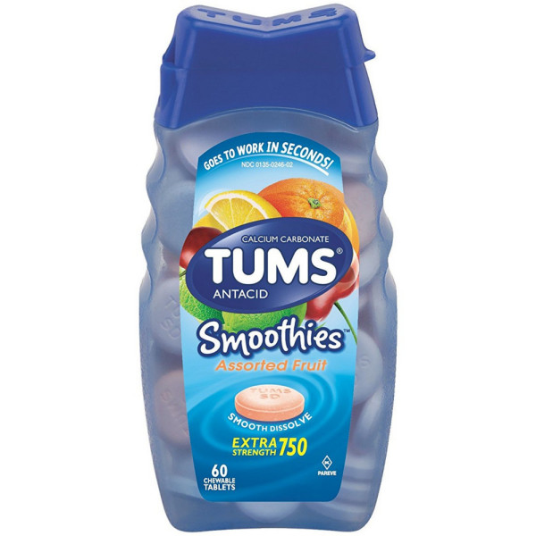 TUMS Smoothies Antacid Chewable Tablets, Assorted Fruit 60 e